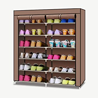TXT&BAZ 24-Pairs Portable Shoe Rack Double Row with Nonwoven Fabric Cover (7-Tiers Brown)