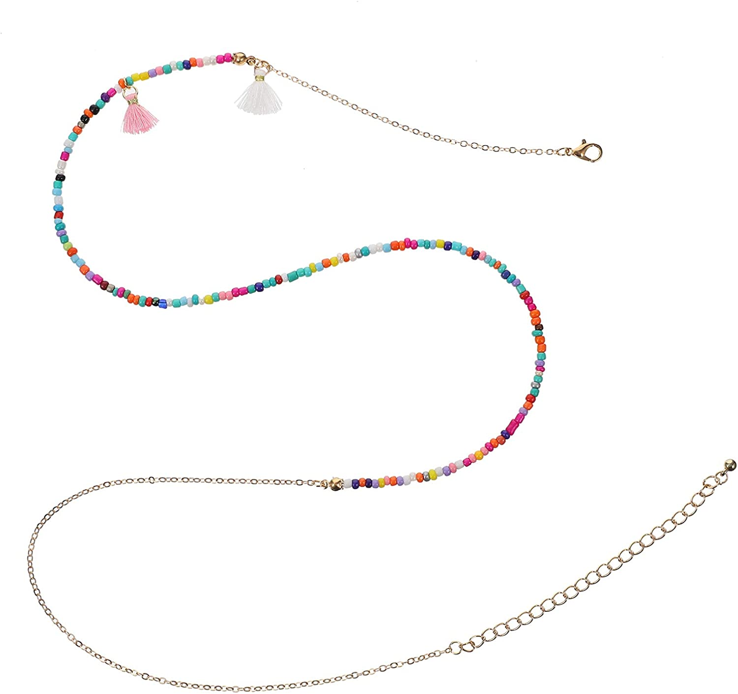VALICLUD 2Pcs Woman Waist Chain Colorful Beads Waist Chains Bohemian Style Body Chains Belly Chains