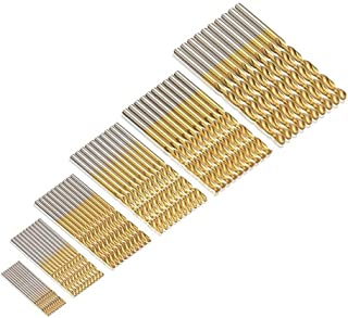 JTENG 60 uds. Set Taladro Micro 1/1,5/2 / 2,5/3 / 3,5 mm de titanio de alta velocidad HSS brocas helicoidales de metal Taladro pone el bit Profi de siembra (10 p. * 6 Pack)