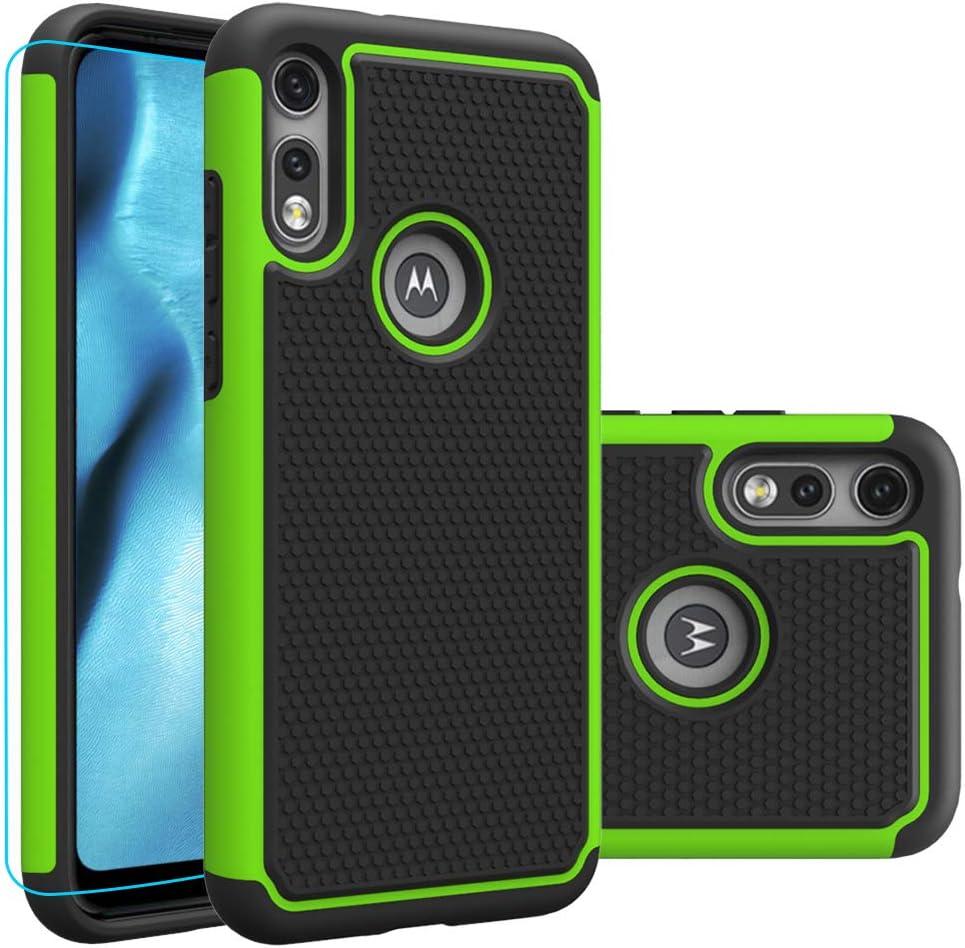 Moto e (2020) Case, Motorola E (2020) Case with HD Screen Protector,Giner Dual Layer Heavy-Duty Military-Grade Armor Defender Protective Phone Case Cover for Motorola Moto e (2020) (Green Armor)