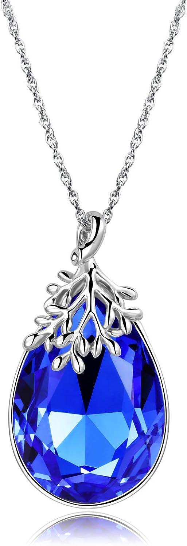 YALONG Birthstone Necklace Max 84% OFF for Women Crystal Regular store P Teardrop Austrian