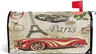 Foruidea Eiffel Tower Car Paris Mailbox Covers Magnetic Mailbox Wraps Patriotic Post Letter Box Cover Standard Oversize 21 X 18 Makover MailWrap Garden Home Decor