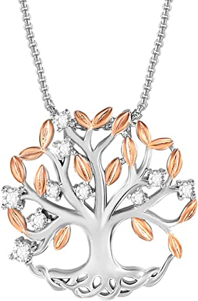 e5a2a7de2 THEHORAE Tree of Life Pendant Necklace Family Life Tree Necklace for Women White  Gold Plated Necklace