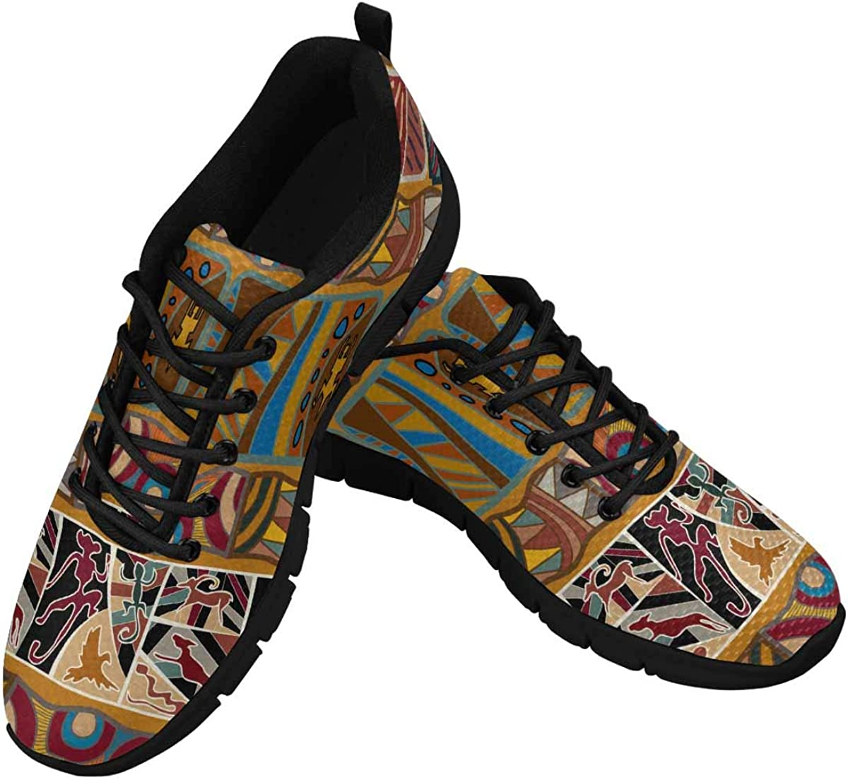 InterestPrint Pattern with African Tribal Print Women's Athletic Mesh Breathable Casual Sneakers Fashion Tennis Shoes