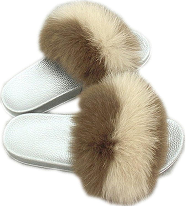 QMFUR Women Real Fox Fur Slippers Fashion Slides Flat Silver Soft Summer shoes for Girls (12, Brown-Khaki)