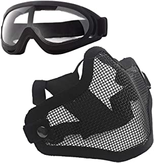 Anyoupin Airsoft Mask and Goggles Set Adjustable Metal Steel Mesh Half Face Mask with Ultra-Violet Protective Outdoor Glas...