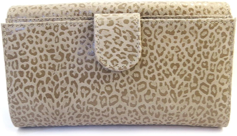 Leather wallet + checkbook holder 'Frandi' mole (leopard).