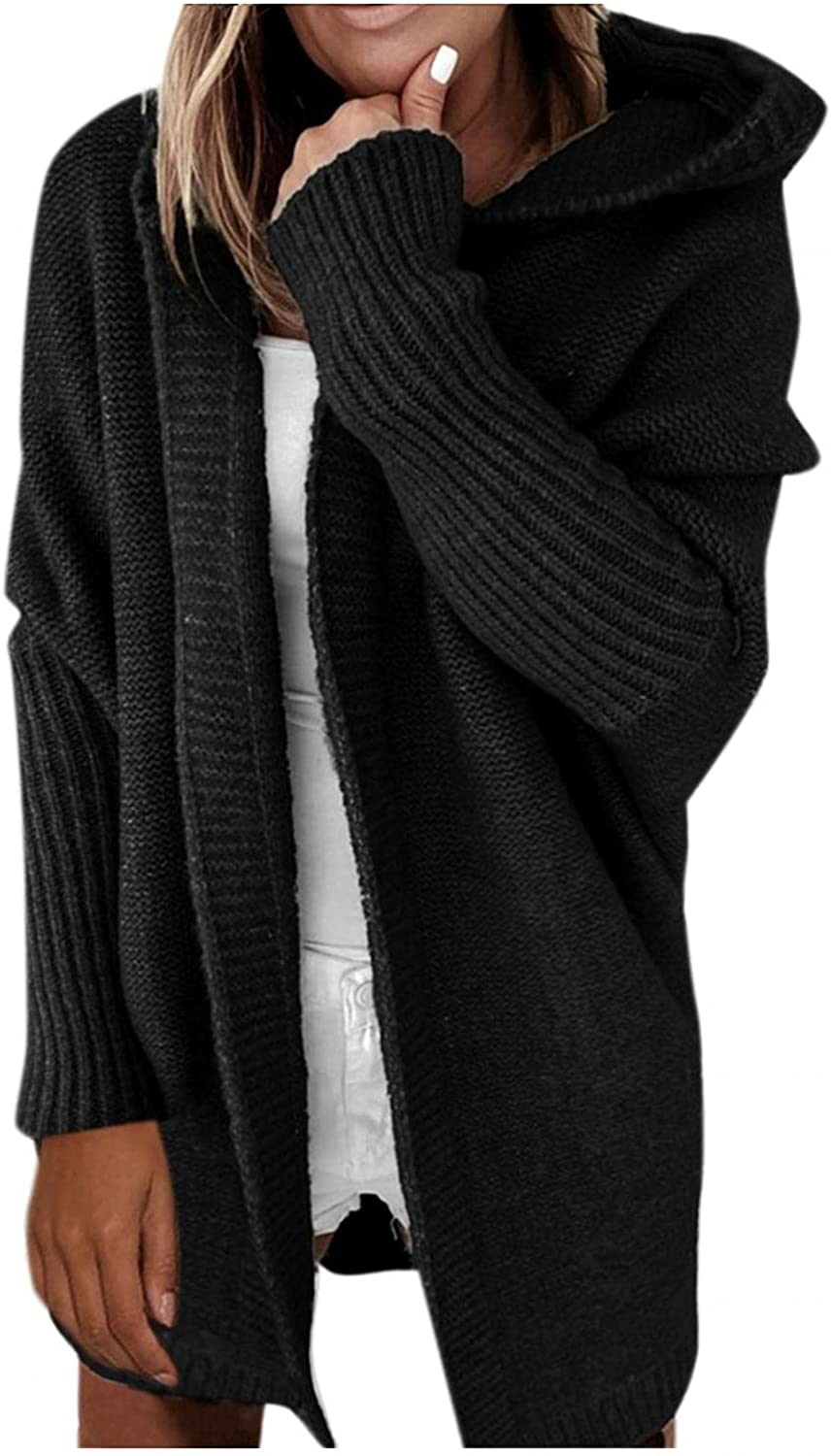Women's Cardigan Coat Solid Color Hooded Open Stitch Batwing Sleeve Knitted Sweater Outwear