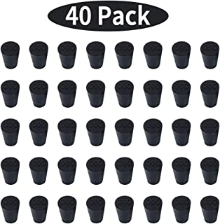 40 Pieces (Same Size) Small Solid Rubber Stoppers - Size #000-13mm (0.51in) x 8mm (0.31in) - 17mm (0.66in) Long - Black Lab Plug