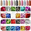 2 Packs Nail Sequin Nail Glitter Sequins Mixed Paillettes Holographic Nail Art Sparkly Glitter Sheets Tips Manicure Nail Decoration for Nail Crafts Face Eyes Body