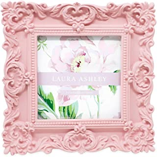 Laura Ashley 4x4 Pink Ornate Textured Hand-Crafted Resin Picture Frame with Easel & Hook for Tabletop & Wall Display, Decorative Floral Design Home Décor, Photo Gallery, Art, More (4x4, Pink)