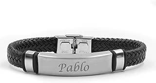 Kigu Pablo Name Bracelet - Personalised Mens Double Leather Braided Engraved Bracelet.