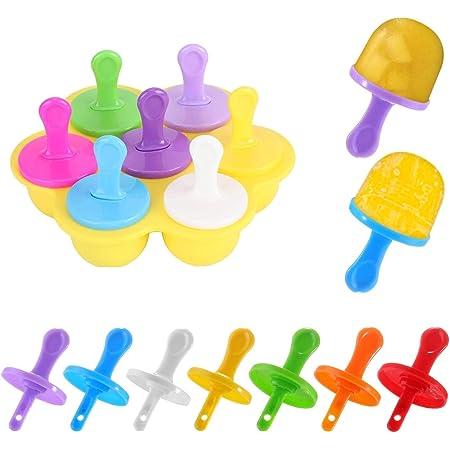 Mini Moldes para Paletas de Hielo, Molde de Mini Helado, Silicona Moldes Mini Popsicle Hielo, Molde Silicón para Mini Helado y Paletas 7 Cavidades, Sin BPA