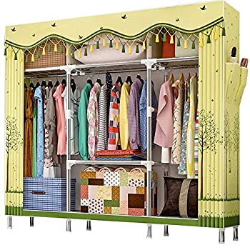 ZZBIQS Extra Large Wardrobe Storage Closet Portable Organizer Shelves Rack Flannel Fabric Cover Standing Closet with Hang Rod and 2 Side Pockets Verdant Forest