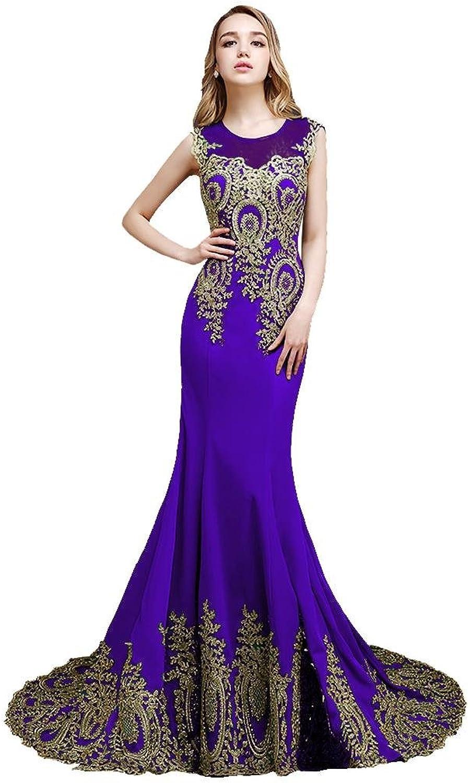 BeautyEmily Mermaid Sleeveless SeeThrough Sweep Train Lace Eveing Dress