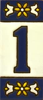 Números casa. Letreros con numeros y letras en azulejo de ceramica policromada, pintados a mano en técnica cuerda seca para placas con nombres, direcciones y señaléctica. Texto personalizable. Diseño AZUL MINI 7,3 cm x 3 cm. (NUMERO UNO