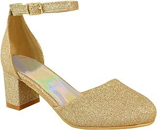 Girls Kids Ladies Low Block Heel Diamante Sandals Wedding Party Shoes Bridesmaid by Heelberry