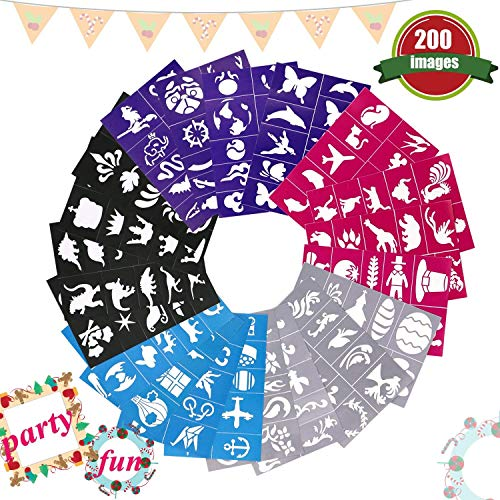 Buluri 200 Pack Face Paint Stencils for Boys & Girls, Non-Toxic Reusable Adhesive Body Paint Stencils for Birthday Party, Christmas, Halloween, Carnivals