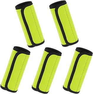 Prettyia 5 X Neoprene Luggage Handle Wrap Identifier Comfort Wrap Fluorescent Yellow