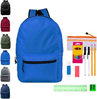15 Inch Bulk Backpacks in Assorted Colors with School Supply Kit - Wholesale Case of 24