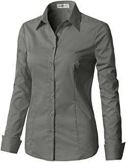 9051b76b517 CLOVERY Women s Basic Long Sleeve Slim Fit Button Down Shirt