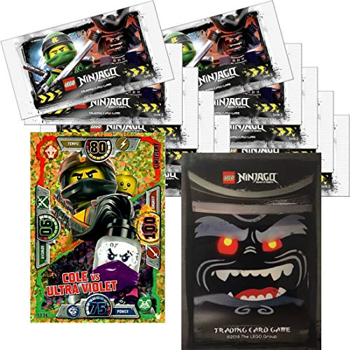 LEGO Ninjago Trading Card Game Serie 3: 50 tarjetas + 5 pegatinas + tarjeta extra limitada (LE14 Cole vs Ultra Violet)