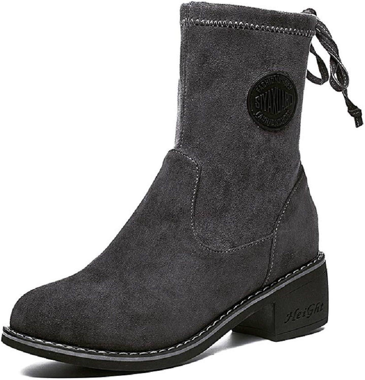 Fuxitoggo Block Stiefel für Damen schnüren Sich Leder Mid Calf Schuhe (Farbe   Grau, Gre   EU 39)