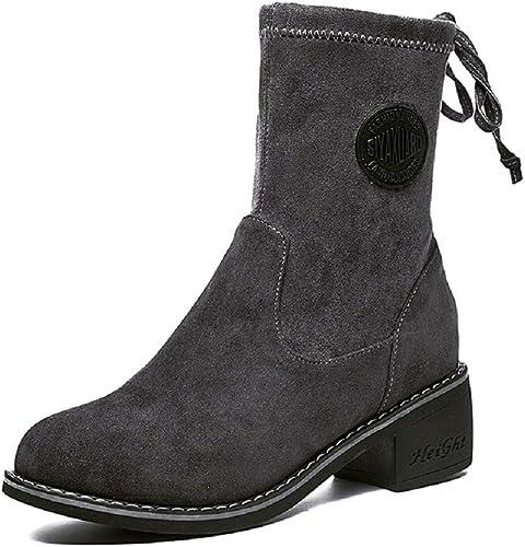ZHRUI Chaussure mi-Mollet à Lacets en Cuir pour Femmes (Couleuré   gris, Taille   EU 36)
