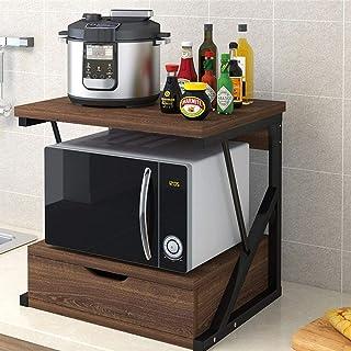 KCCCC Armoire de Cuisine Organisateur Bois 2 Niveau Micro-Ondes Support Support de Rangement avec et tiroir Spice Rack Org...