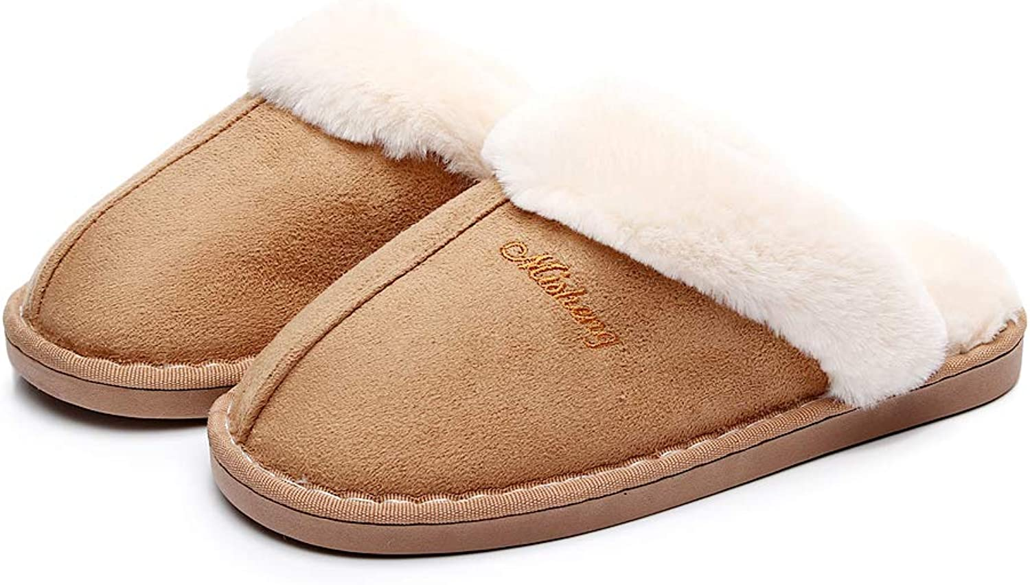 HAVINA Womens Slipper Memory Foam Fluffy Slip-On House Suede Fur Lined Anti-Skid Sole,Indoor & Outdoor