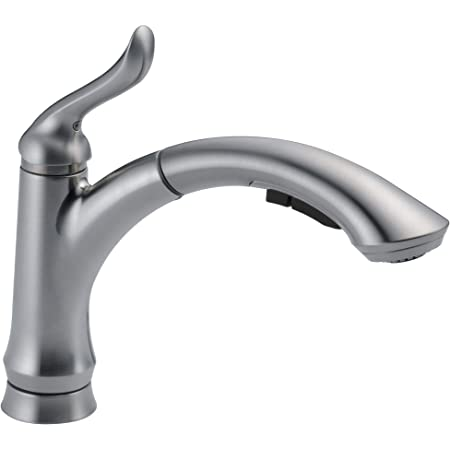 DELTA Linden Single-Handle Kitchen Sink Faucet with Pull Out Sprayer, Arctic Stainless 4353-AR-DST