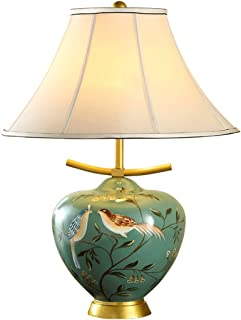 Chinese Ceramic Table Lamps, Bedroom Bedside Living Room, Hand-Painted Motifs, Modern Luxury, Green Color