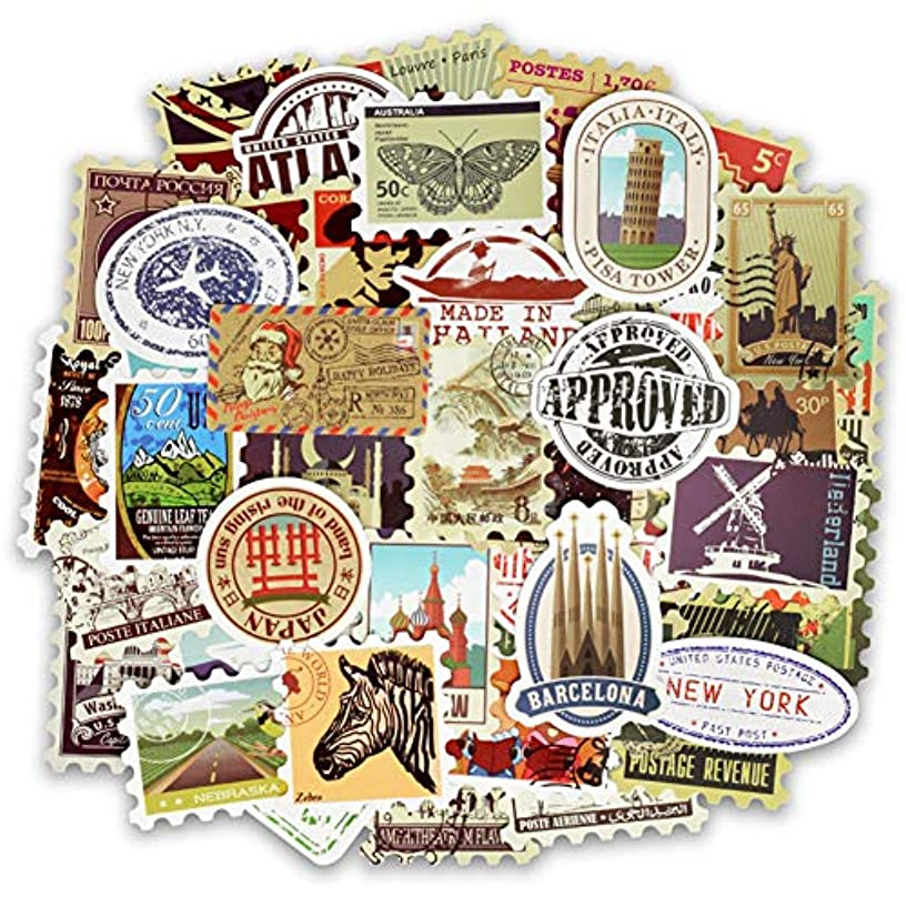 50 PCS Retro Stamp Stickers for Laptop Scrapbooking Skateboard Guitar Motorcycle Luggage, Waterproof Car Bumper Sticker Decals
