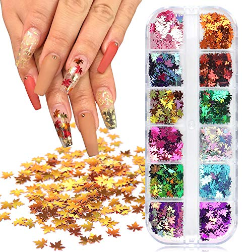 Maple Leaf Nail Art Sticker Decals Fall Nail Art Glitters Sequins Nails Decorations Supply Gel Polish Manicure Tips Accessories 12 Grids Autumn Maple Leaves Nail Design Glitter Flakes Set