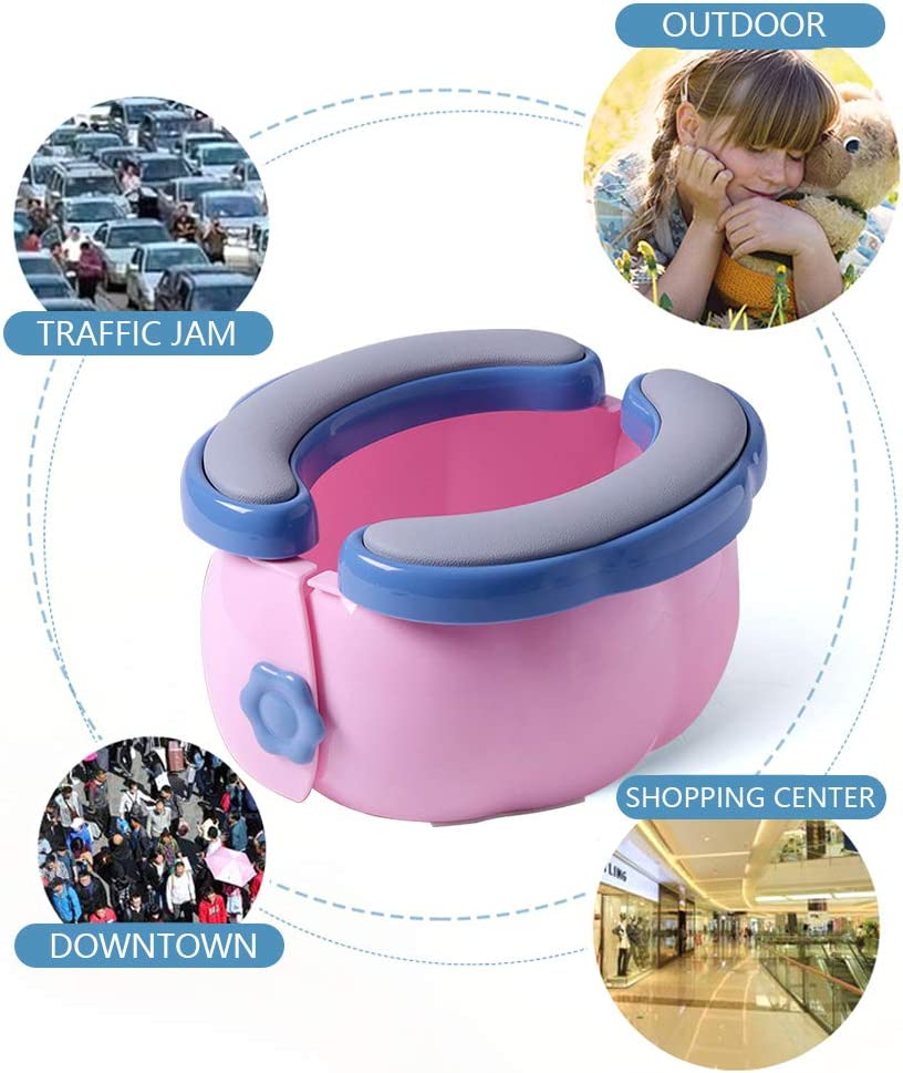 Baby Travel Potty Outdoor Portable Toilet for Kids Toddler Toilet Folding with PU Cushion TPR Plastic Cover More Stable Non-Slip Easy to Carry and Hiking with Storage Bag 20 Plastic Bags Dark Blue