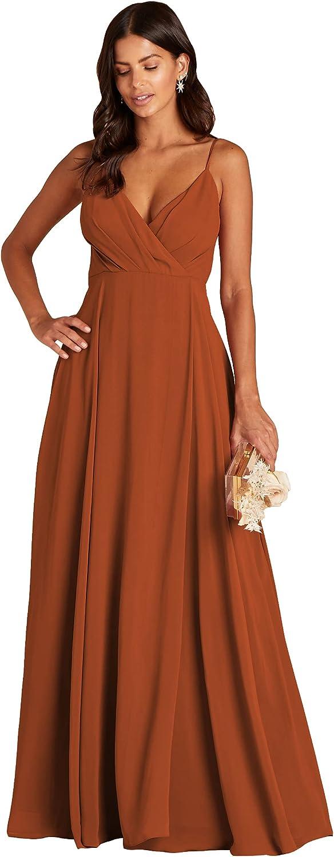 JVNKEIL Spaghetti Strap V Neck A Line Chiffon Long Bridesmaid Dress Wedding Guest Dress with Pockets