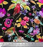 Soimoi Rosa Samt Stoff Blätter, Floral & American Robin