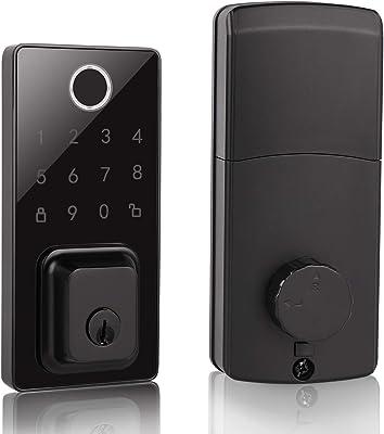 Probrico Fingerprint Smart Lock, Keyless Entry Door Lock, Electronic Touchscreen Deadbolt Door Lock,Keypad Digital Lock, Black