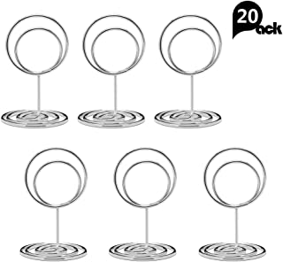 Jofefe 20pcs Mini Place Card Holders, Cute Table Number Holders, Classy Table Card Holder Table Picture Stands, Elegant Wire Photo Holder Menu Memo Clips, Idea for Wedding, Anniversary Party (Silver)