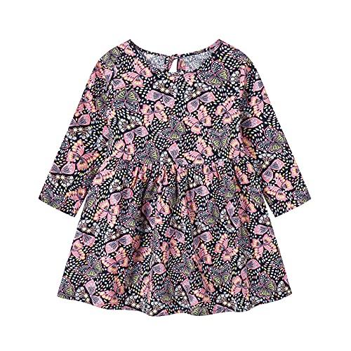 Vestidos de bebé para niñas - Ropa de bebé Niñas - Vestido de manga larga de una pieza con estampado floral de princesa vestido de otoño para niños (6 meses a 3 años), Negro, 2-3 Años
