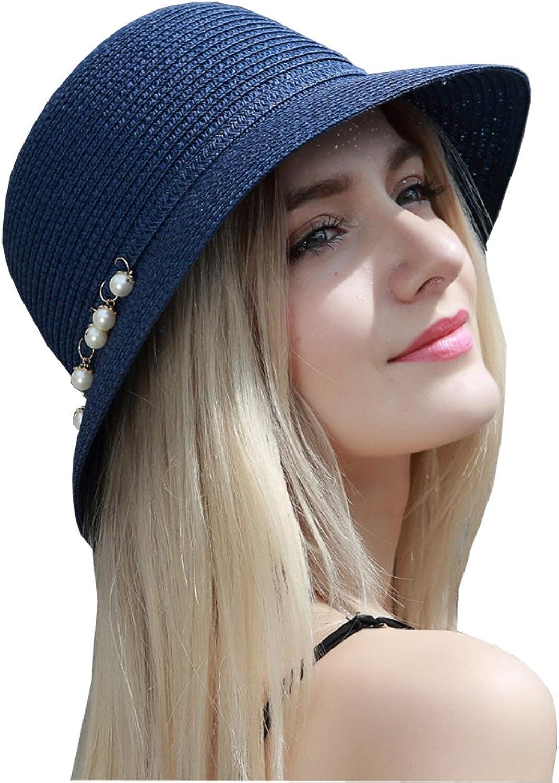 Kekolin Womens Floppy Summer Sun Beach Straw Hats Accessories Wide Brim Foldable