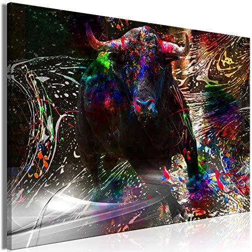 murando Cuadro en Lienzo Animales 120x80 cm 1 Parte Impresión en Material Tejido no Tejido Impresión Artística Decoracion de Pared Toro Manchas de Pintura Abstracto Gris Colorido g-A-0292-b-a