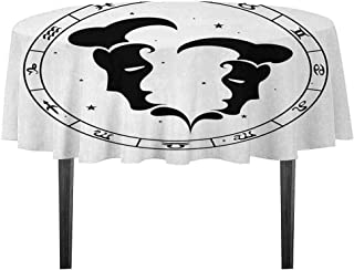 Zodiac Gemini Leakproof Polyester Tablecloth Zodiac Wheel with Twelve Signs Abstract Male Portraits with Stars Tattoo Outdoor and Indoor use D55.11 Inch Black and White