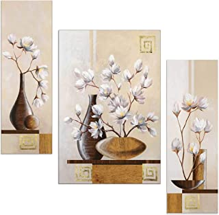 SND ART Beautiful Flower UV Textured Set of 3 MDF Frame Wall Painting for Living Room Wall Painting for Home Decoration(12...