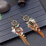 BGDRR 1 Paar Vintage-Mini Türkis Traumfänger Ohrringe handgemachte Traumfänger mit Blumen-Dekoration Ornament Durchmesser 2cm (Color : 1)