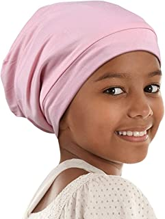 Alnorm Curly Girl Sleeping Cap Satin Lined Hair Bonnets with Comfort Elastic Band Adjustable for Teens, Big Kids, Child