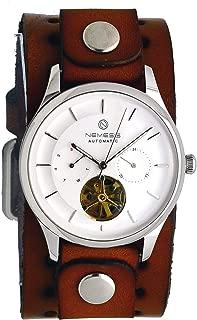 Nemesis BNB510S Men's Open Heart Tourbillon Multifunction Wide Leather Band Automatic Watch