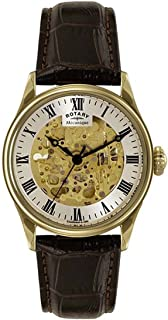 Rotary 'Greenwich'自动金色和皮革休闲手表,颜色:黑色(型号:GS02941/03)