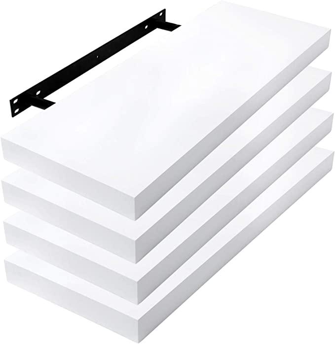 112 opinioni per Lestarain Set di 4 Mensole a Muro Rettangolare Bianco Mensola a Parete in MDF