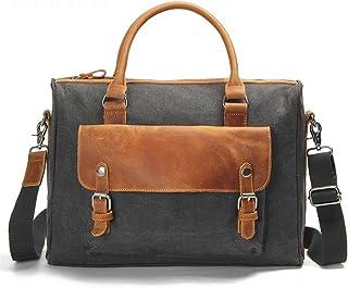 Men's Accessories Office Vintage Style 13 Inch Laptop Handbag Casual Business Briefcase Shoulder Messenger Satchel Bag,Blue/Brown/Gray/Green/Khaki Outdoor Recreation (Color : Gray)